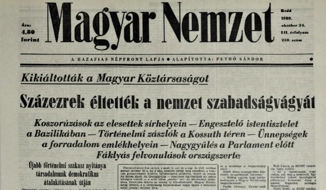 Harminc éve, 1989. október 23-án kiáltották ki a III. Magyar Köztársaságot